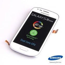 ECRAN LCD + VITRE TACTILE GALAXY S3 MINI I8190 D'ORIGINE BLANC