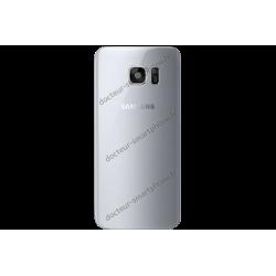 Vitre arrière pour Galaxy S7 EDGE gris / argent d'origine Samsung SM-G935F