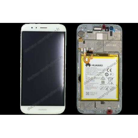 Bloc écran LCD, vitre et batterie Huawei G8 blanc original