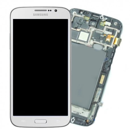 ECRAN LCD + VITRE TACTILE SAMSUNG GALAXY MEGA I9205 BLANC D'ORIGINE
